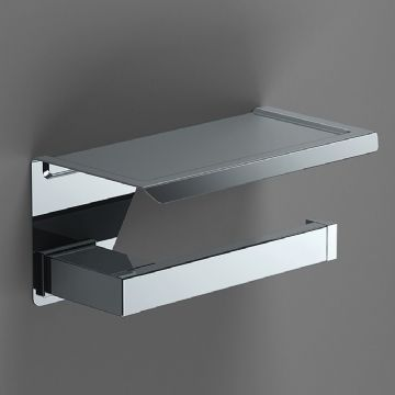 Sonia S-Cube Open Toilet Roll Holder With Shelf Chrome 173938